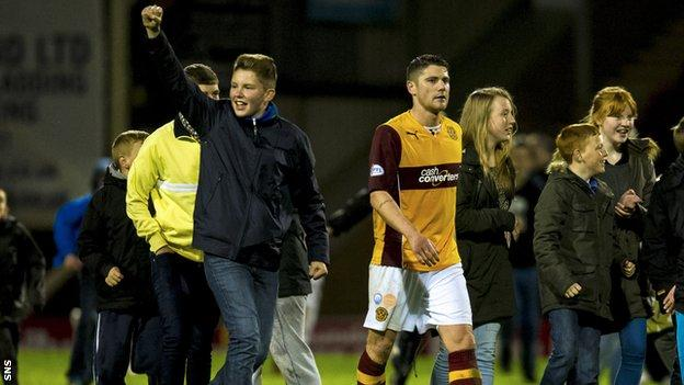 Motherwell fans celebrate after the 2-1 win over Inverness