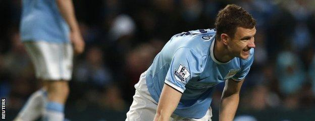 Edin Dzeko sees another chance go begging in a frustrating first-half against Aston Villa.