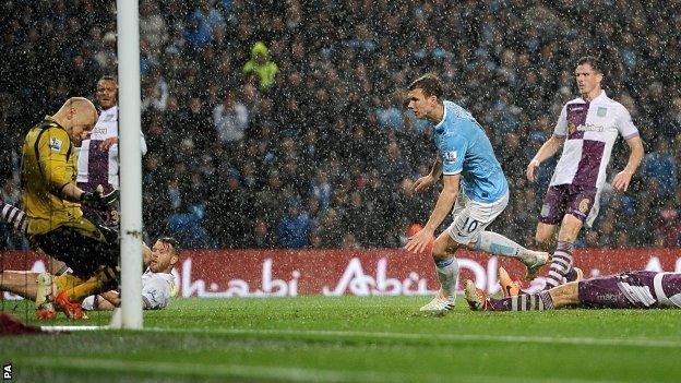 Edin Dzeko gives Manchester City the lead