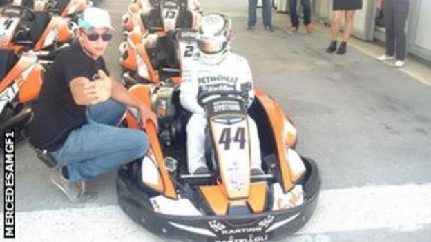 Lewis Hamilton returns to his karting roots ahead of the Spanish Grand Prix.