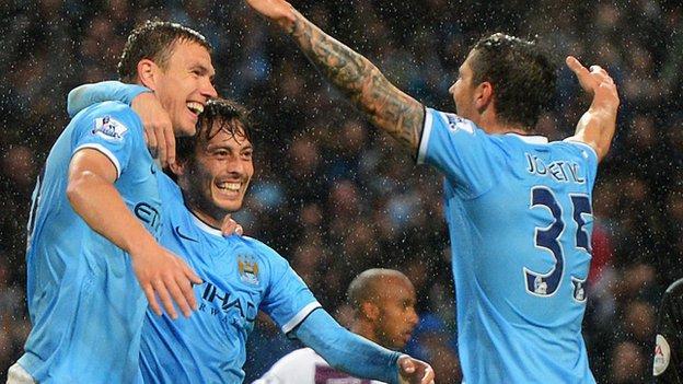 Dzeko, Silva and Jovetic celebrate City's win