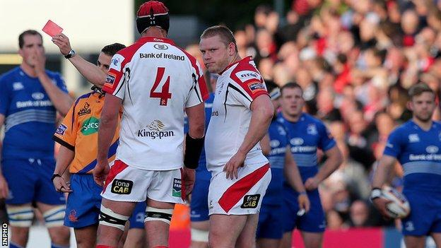 Tom Court was sent off during Ulster's match against Leinster