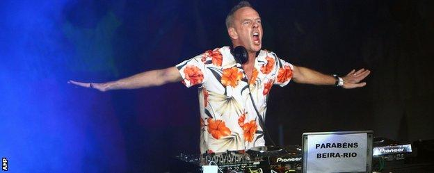 Fatboy Slim performed at the inauguration of Beira-Rio Stadium, one of Brazil's World Cup venues, last month