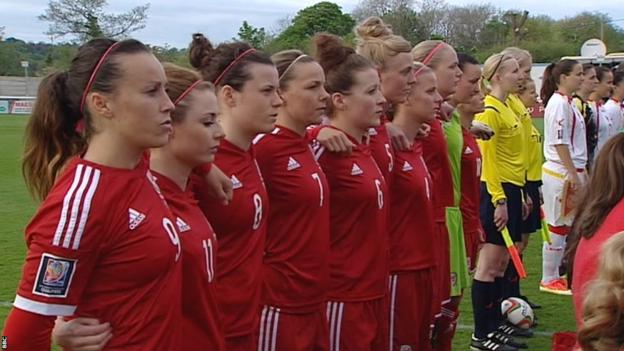 Wales players line-up before their 2015 FIFA Women's World Cup Qualifier against Montenegro in Bangor, which they won 4-0.