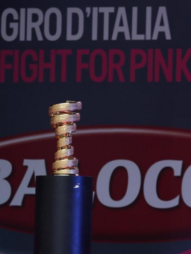 The trophy to be presented to the winner when the gruelling 3,345km race ends in Italy on 1 June