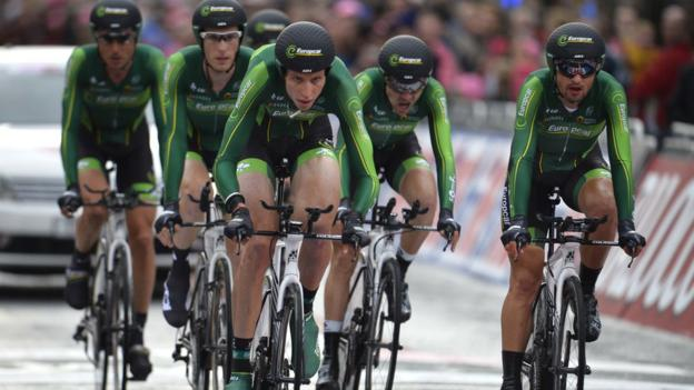 The Europcar cyclists in action during the team time trial on day one of the 97th Giro d'Italia in Belfast