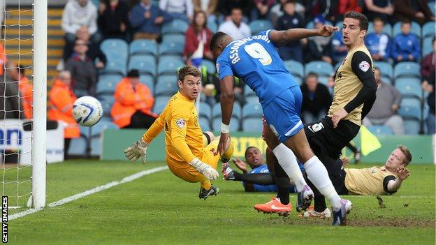 Britt Assombalonga gives Peterborough a 1-0 lead against Leyton Orient
