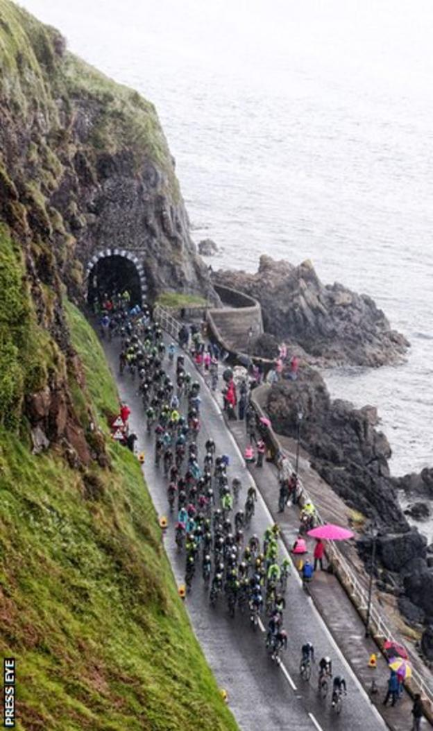 The Giro d'Italia peloton on the coast road near Larne during Saturday's second stage in the Grand Tour in Northern Ireland