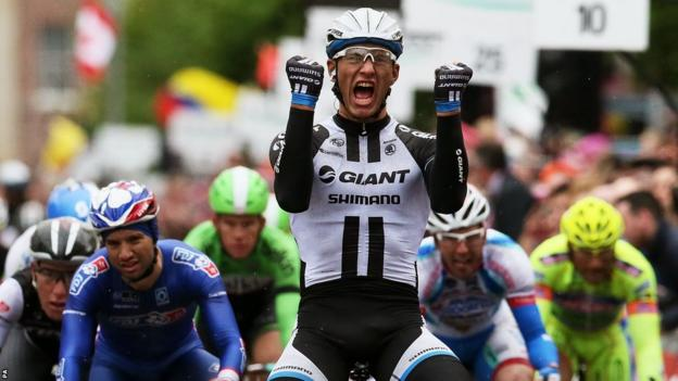 Marcel Kittel celebrates his victory in the second stage of the Giro d'Italia after a bunch sprint in Belfast