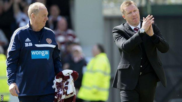 Hearts assistant Billy Brown and manager Gary Locke