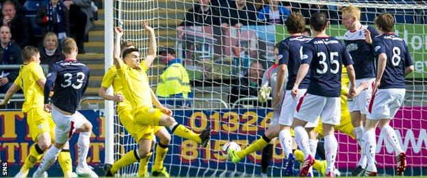Rory Loy scores for Falkirk against Queen of the South