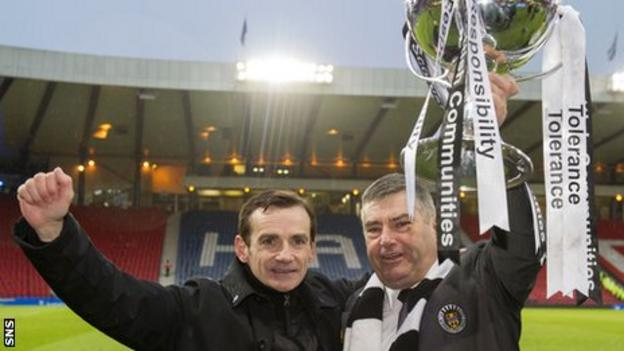 Danny Lennon with Stewart Gilmour after St Mirren's League Cup triumph