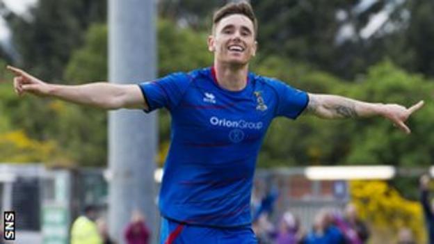 Inverness midfielder Greg Tansey celebrates after scoring against St Johnstone