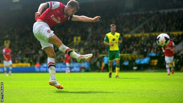 Aaron Ramsey shoots for Arsenal