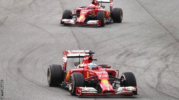 Fernando Alonso leads team-mate Kimi Raikkonen