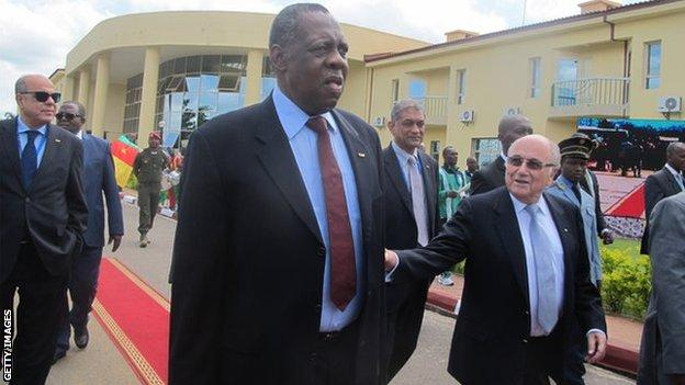 Caf president Issa Hayatou and Fifa president Sepp Blatter