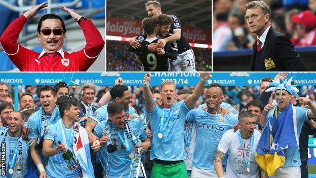 Cardiff owner Vincent Tan (top left), Luke Shaw, David Moyes and Manchester City players celebrate wining the Premier League title