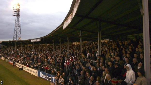 Hereford United fans at Edgar Street