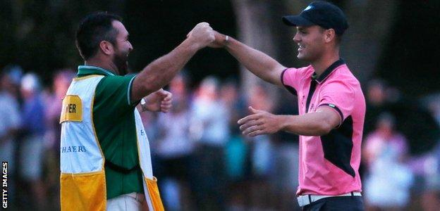 Martin Kaymer (left) celebrates with his caddie Craig Connelly after his one-stroke victory at The Players Championship