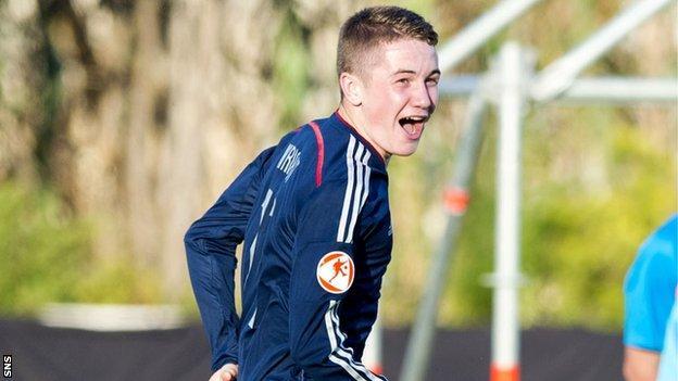Scott Wright celebrates for Scotland