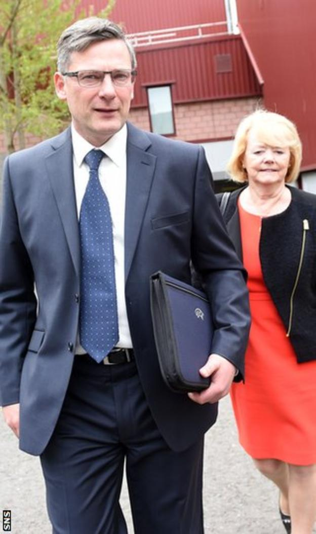 Director of football Craig Levein and Ann Budge