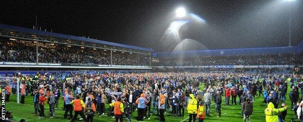 QPR fans celebrate their team's victory