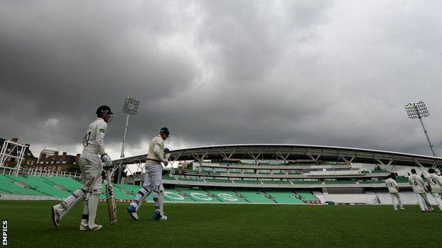 Gloomy skies at The Oval