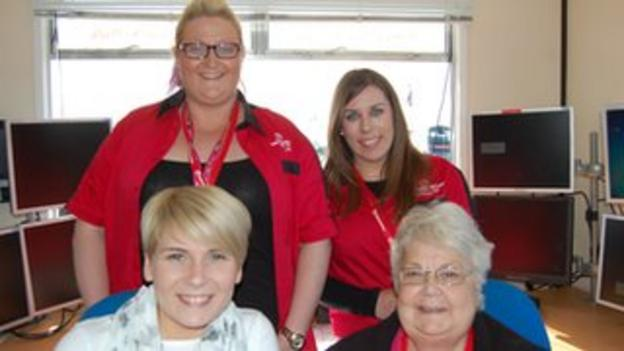 Some of the ladies who provide vital support for the North West 200