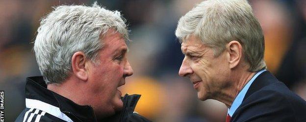 Hull City manager Steve Bruce (left) and Arsenal boss Arsene Wenger