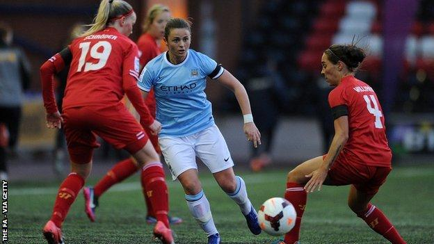 Manchester City women in action against Liverpool ladies