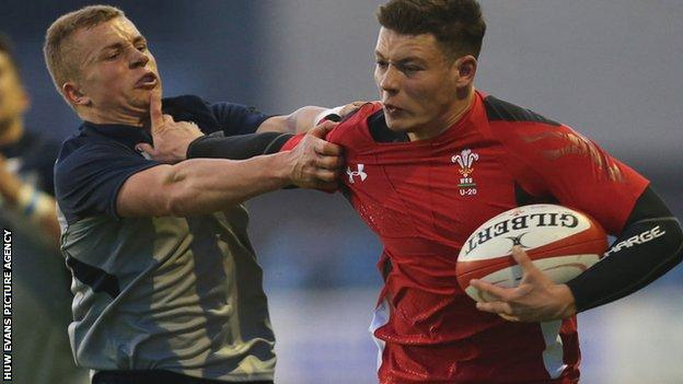 Action from Wales Under-20 versus Scotland