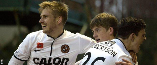 Dundee United players Stuart Armstrong, Ryan Gauld and Andrew Robertson