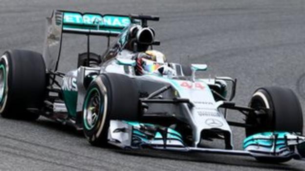 Lewis Hamilton in his Mercedes Formula 1 car