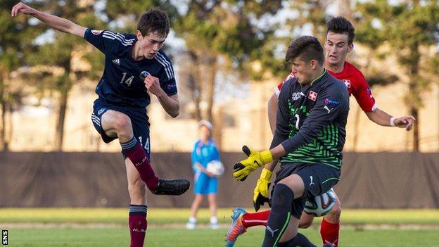Scotland Under-17s player Ryan Hardie scores against Switzerland
