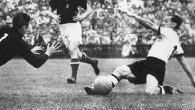 Max Morlock scores for West Germany against Hungary in the 1954 World Cup final