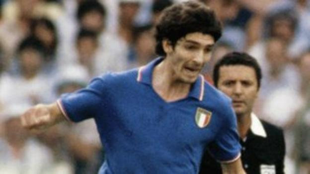 Italy's Paolo Rossi in action during the 1982 World Cup final