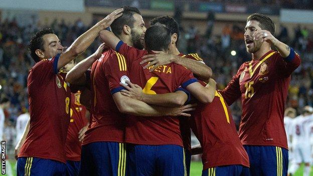 Spain celebrate goal