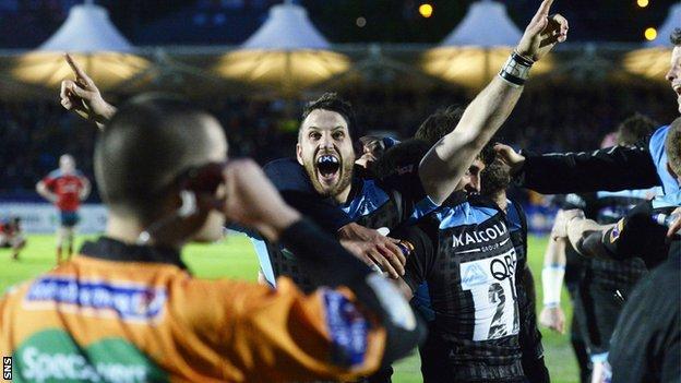 Tommy Seymour celebrates for Glasgow Warriors