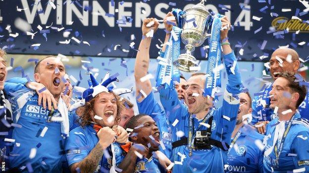 The St Johnstone players celebrate