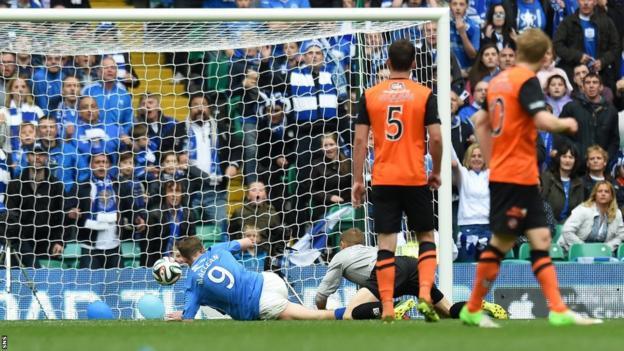 Steven MacLean scores for St Johnstone against Dundee United