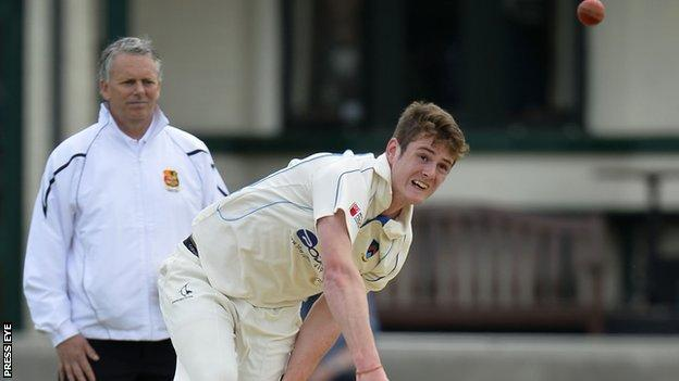 Civil Service bowler Mark Adair in action against North Down at Comber