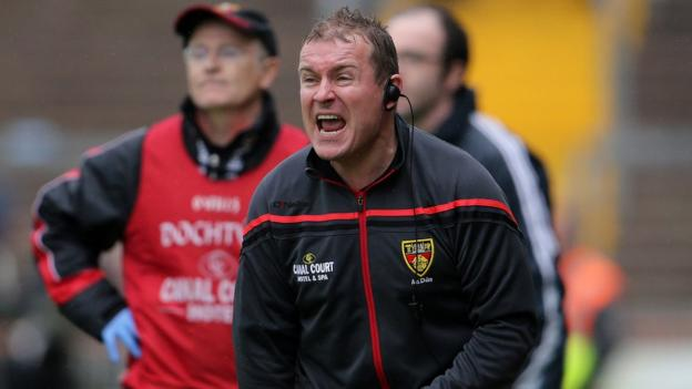 Down manager James McCartan shouts instructions to his players and his words did the trick as the Mournemen fought back in the second half
