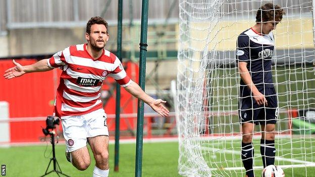 Tony Andreu celebrates after scoring the winner against Falkirk
