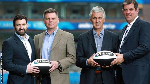 The chief executives of the four Welsh rugby regions - left to right Andrew Hore (Ospreys), Mark Davies (Scarlets), Gareth Davies (Newport Gwent Dragons) and Richard Holland (Cardiff Blues)