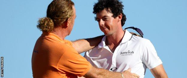 Miguel Angel Jimenez and Rory McIlroy