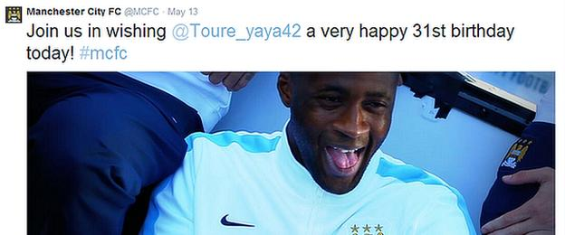 Manchester City use their official Twitter account to congratulate Yaya Toure