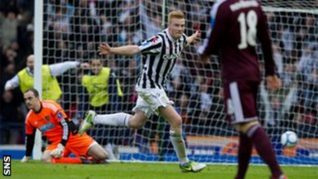 Conor Newton celebrates after scoring for St Mirren against Hearts in the 2013 Scottish League Cup final