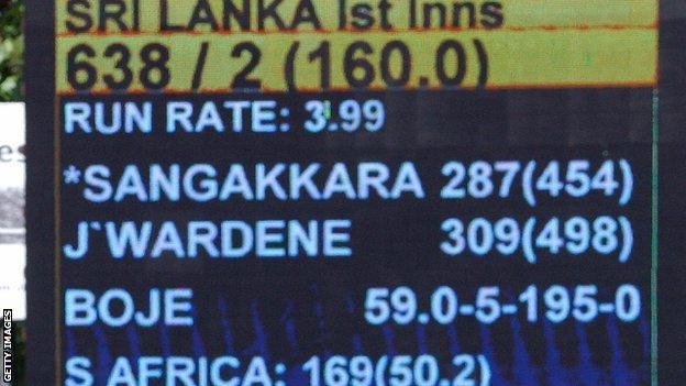 The scoreboard in Colombo reflects Kumar Sangakkara & Mahela Jayawardene's record Test stand