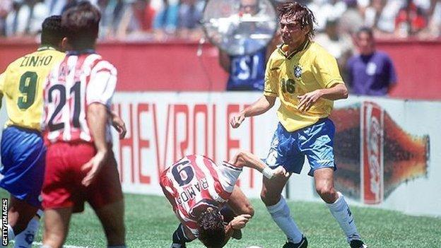 Brazil left-back Leonardo was banned for four matches after elbowing USA's Tab Ramos in 1994