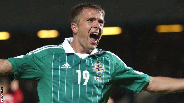 Jamie Ward in action for Northern Ireland